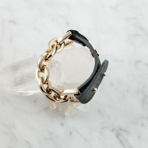 Chain and Leather Bracelet